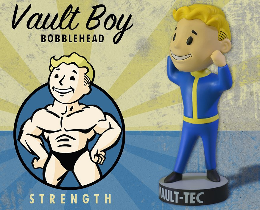 Фигурка Fallout 4 Vault Boys Bobble-Head Series 1 - Strength / Fallout 4 Волт-Бой Башкотряс Серия 1 - Сила