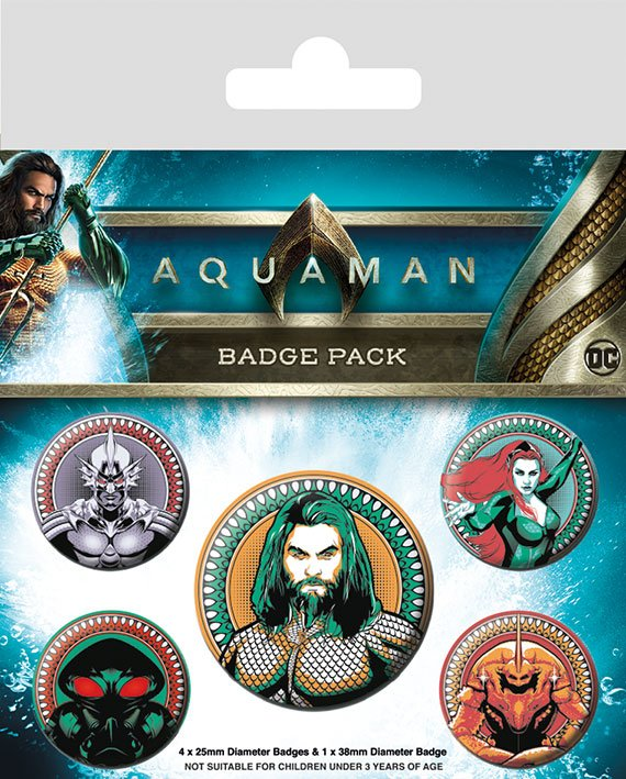 Значок Pyramid: DC: Aquaman (Heavy Hitters Of The Seas) 5 шт. BP80654